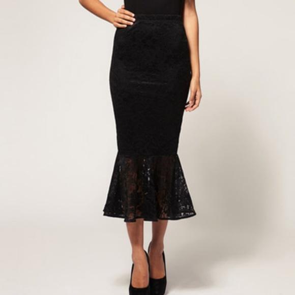 ea66b35e6b ASOS Skirts   Lace Pencil Skirt With Fishtail Hem   Poshmark